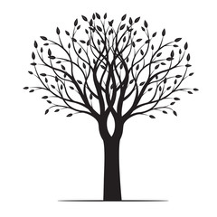 Spring Tree with Leafs. Vector Illustration.