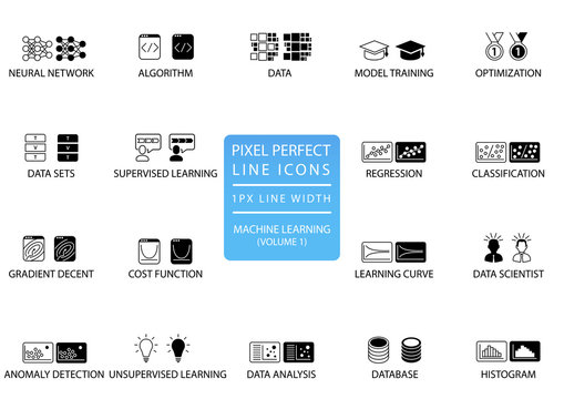 Pixel perfect thin line icons and symbols for machine learning / deep learning / artificial intelligence.