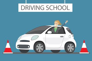 Happy cartoon caucasian female siting in white driving school car outdoor