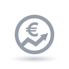 Euro arrow icon - European currency progress symbol