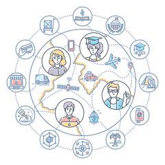 Internet business - modern flat design style colorful illustration