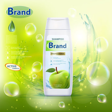 White bottle with hair shampoo and green apple