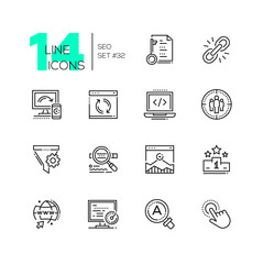 SEO - set of line design style icons