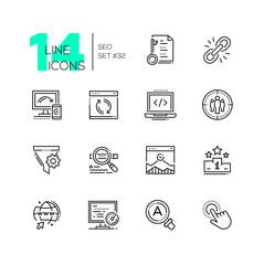 SEO - set of line design style icons