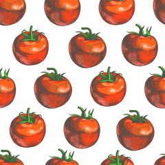Vector color seamless pattern with fresh vegetables in engraving style. Hand drawn texture with red tomatoes isolated on white.