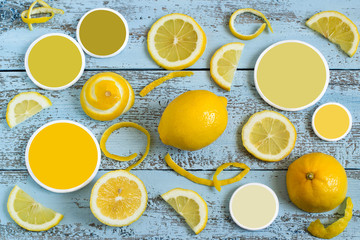 Fresh lemons and color samples