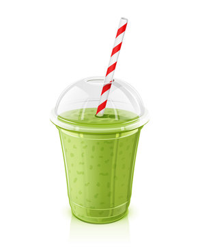 Plastic transparent cup with striped pipe. Fresh mint smoothie.
