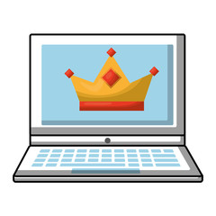 laptop with crown royalty on screen vector illustration