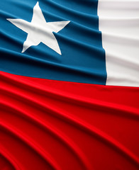 Close up of Chilean flag with ripple