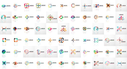 Logo mega collection, abstract geometric business icons