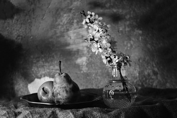 pears and flowers in the bw