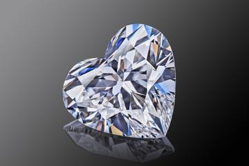Luxury colorless transparent sparkling gemstone  shape heart cut diamond  isolated on black background