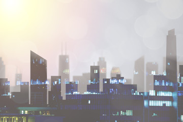 Population grown and city planning.  Highrise urban development and skyline with sun in evening with copyspace for text.