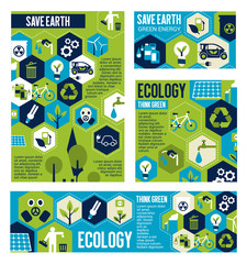 Think green eco banner with ecology flat symbol