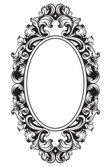 Baroque frame decor Vector. Victorian detailed rich ornament illustration. Royal luxury intricate ornaments. graphic line art styles