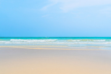 Idyllic perfect tropical white sandy beach and turquoise clear ocean water