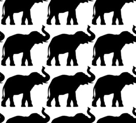 seamless pattern of elephant silhouettes