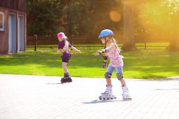 young girl outdoors inline skating fun radial blur