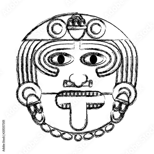Grunge Aztec Sun God Culture Symbol Stock Image And Royalty Free