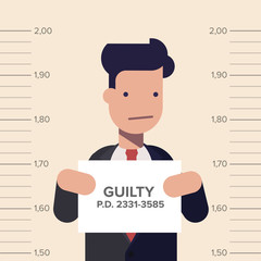 Caught guilty businessman or manager with ID signs on his hand. Concept dishonest business. Flat vector illustration in cartoon style.