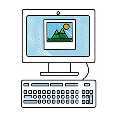 computer keyboard picture photo social media app vector illustration drawing