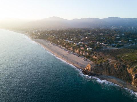 Malibu coast sunset aerial landscape scene