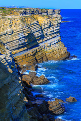Wonderful romantic afternoon panoramic seascape. Coastline cliff
