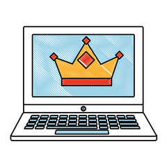 laptop with crown royalty on screen vector illustration drawing