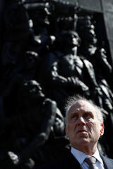World Jewish Congress president Lauder looks on before a ceremony commemorating the 75th anniversary of the Warsaw Ghetto Uprising, in front of the Warsaw Ghetto monument in Warsaw