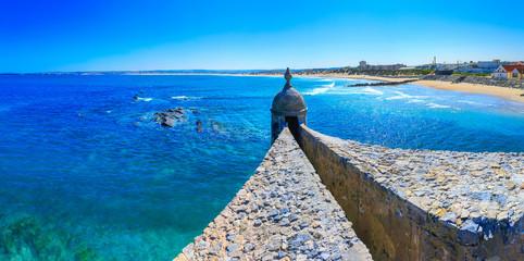 Wonderful romantic afternoon panoramic seascape. Coastline cliffs of the Atlantic ocean in Peniche....