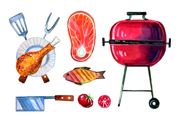 Hand drawn watercolor set of various  objects for picnic, summer eating out, grill and barbecue