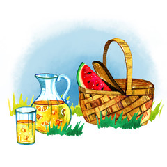 Hand drawn watercolor illustration with basket, watermelon and lemonade on grass. Picnic, summer eating out and barbecue