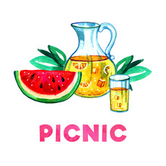Hand drawn watercolor illustration with lemonade, watermelon and leaves. Picnic, summer eating out and barbecue