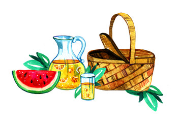 Hand drawn watercolor illustration with basket, lemonade and watermelon. Picnic, summer eating out and barbecue