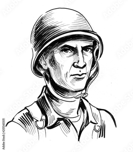Ink Black And White Drawing Of A World War 2 American Soldier In