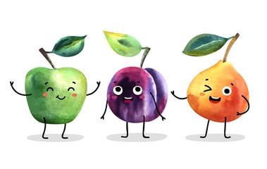 Watercolor cute fruit characters.
