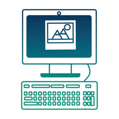 computer keyboard picture photo social media app vector illustration  degraded color