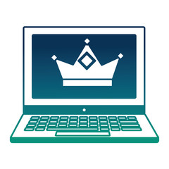 laptop with crown royalty on screen vector illustration  degraded color