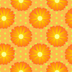 Seamless floral pattern with orange marigold flowers