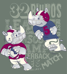 Rhinos Football League.Artwork for baby wear in custom colors
