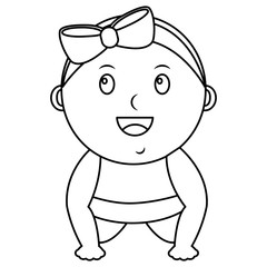 cute little baby girl bow happy vector illustration outline