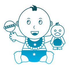 cute little baby boy sitting with duck and rattle toys vector illustration degraded blue color