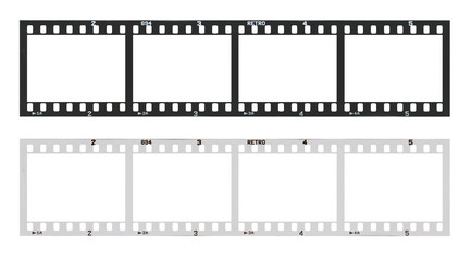 film strip with frames, empty black and white 135 type (35mm) in negative and positive isolated on white background with work path.