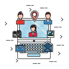 laptop social media people email photo picture location icons vector illustration drawing