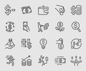 Line icons set for business money