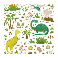 Vector elements of  prehistoric age life.
