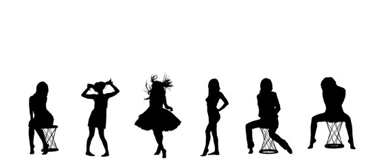 Female silhouettes on a white background. Model. Female figure