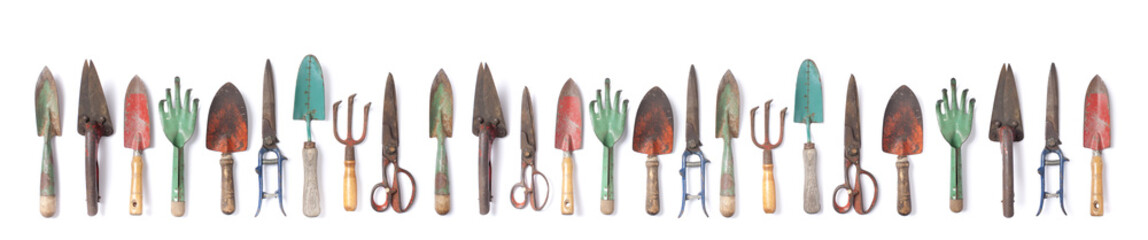 Vintage garden tools collection isolated on white