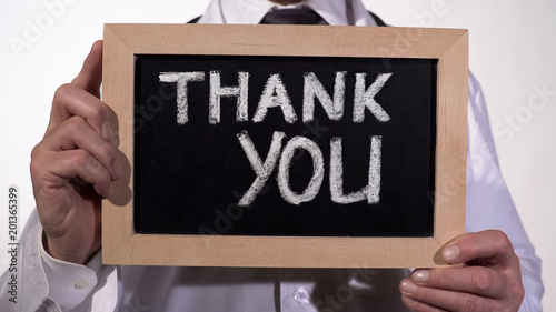 Thank You Text On Blackboard In Therapist Hands Clinic Services
