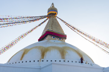 the great Boudha stupa, world heritage stie in 1979, 100 ft diameter, 1 hector width and 141.16 ft hight, Kathmandu, Nepal
